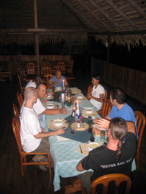 Dinner at the Cuyabeno Rainforest Lodge in Ecuador.