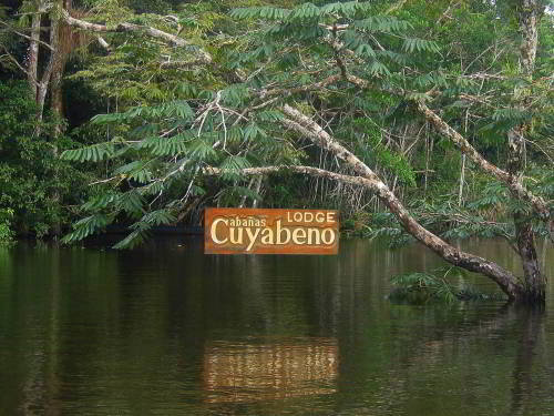 Visiting the Amazon in Ecuador: Cuyabeno Lodge welcome sign welcoming you on your Ecuador Amazon visit