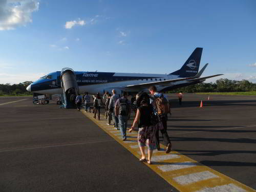Visiting the Amazon in Ecuador: Lagoagrio Airport, the port of entry for visiting the Amazon in Ecuador.