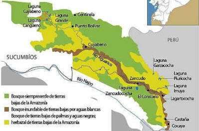 Visiting the Amazon in Ecuador: Cuyabeno National Park Map.