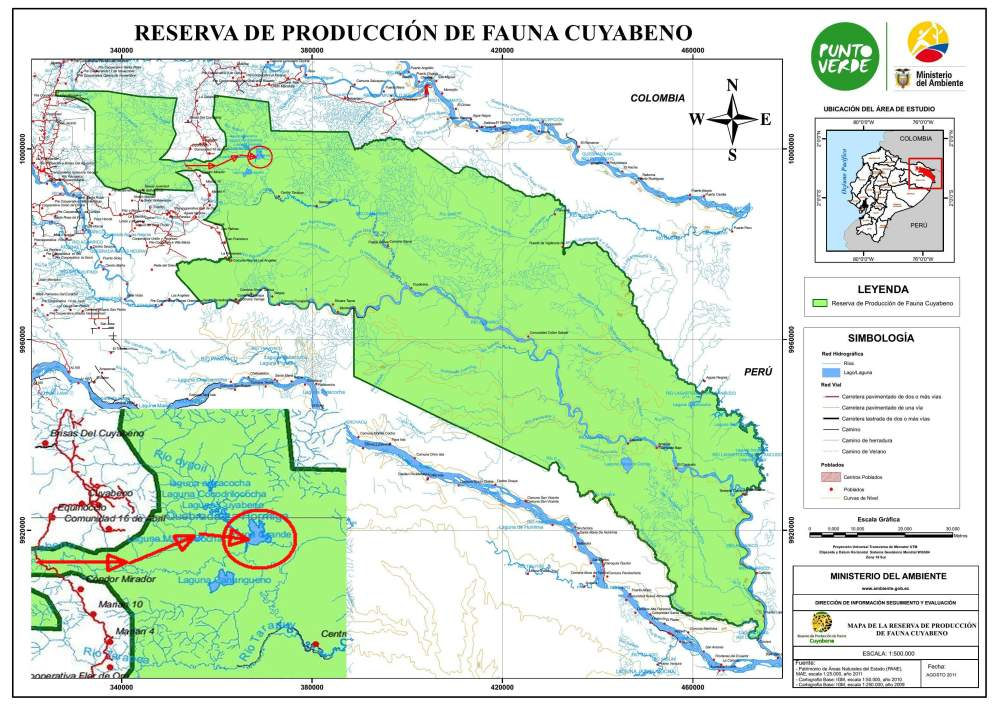 Cuyabeno Faunistic Reserve: Detailed map.